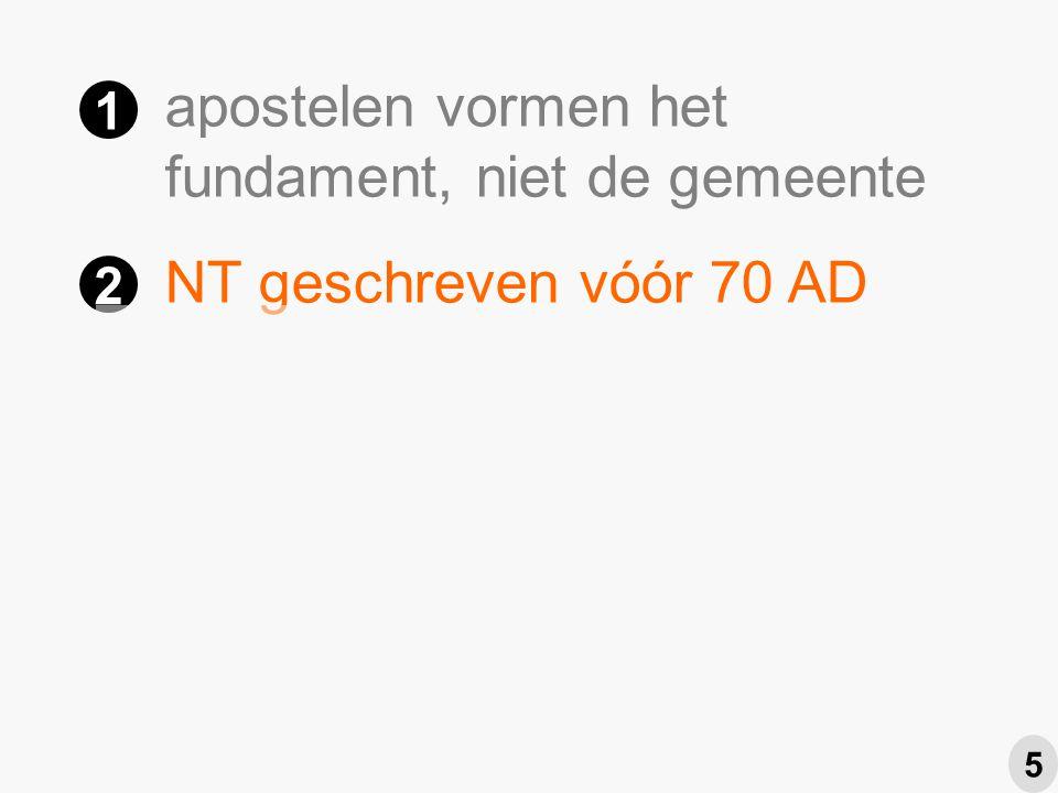 NT geschreven vóór 70 AD Petrus actief als redacteur NT Paulus eindredacteur NT 1 2 3 4 5