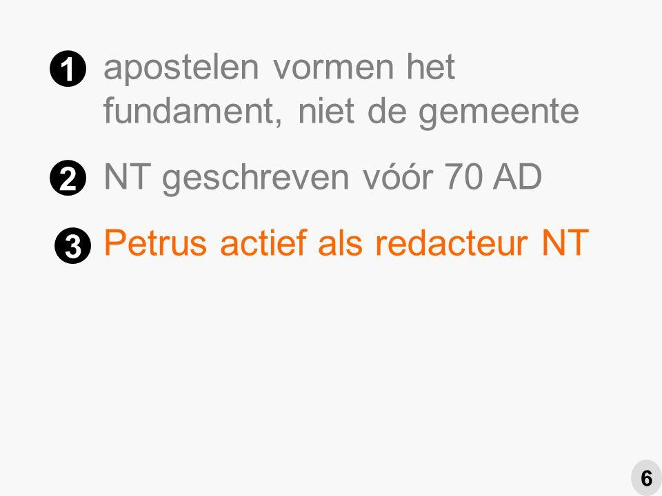 apostelen vormen het fundament, niet de gemeente NT geschreven vóór 70 AD Petrus actief als redacteur NT Paulus eindredacteur NT 1 2 3 4 6