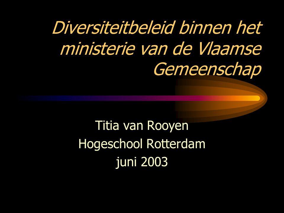 Diversiteitbeleid binnen het ministerie van de Vlaamse Gemeenschap Titia van Rooyen Hogeschool Rotterdam juni 2003
