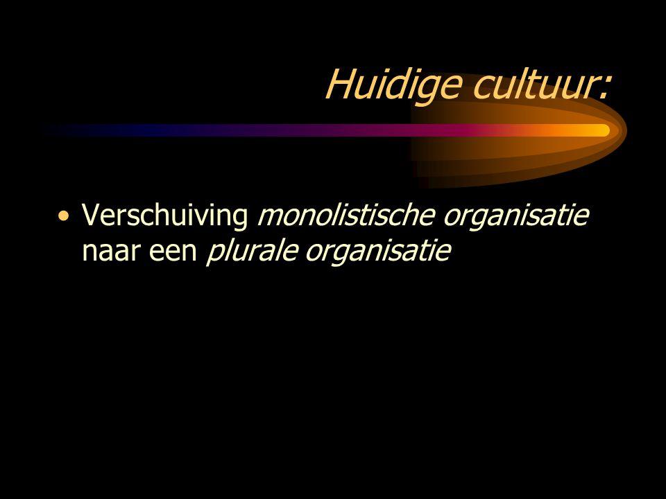Huidige cultuur: Verschuiving monolistische organisatie naar een plurale organisatie