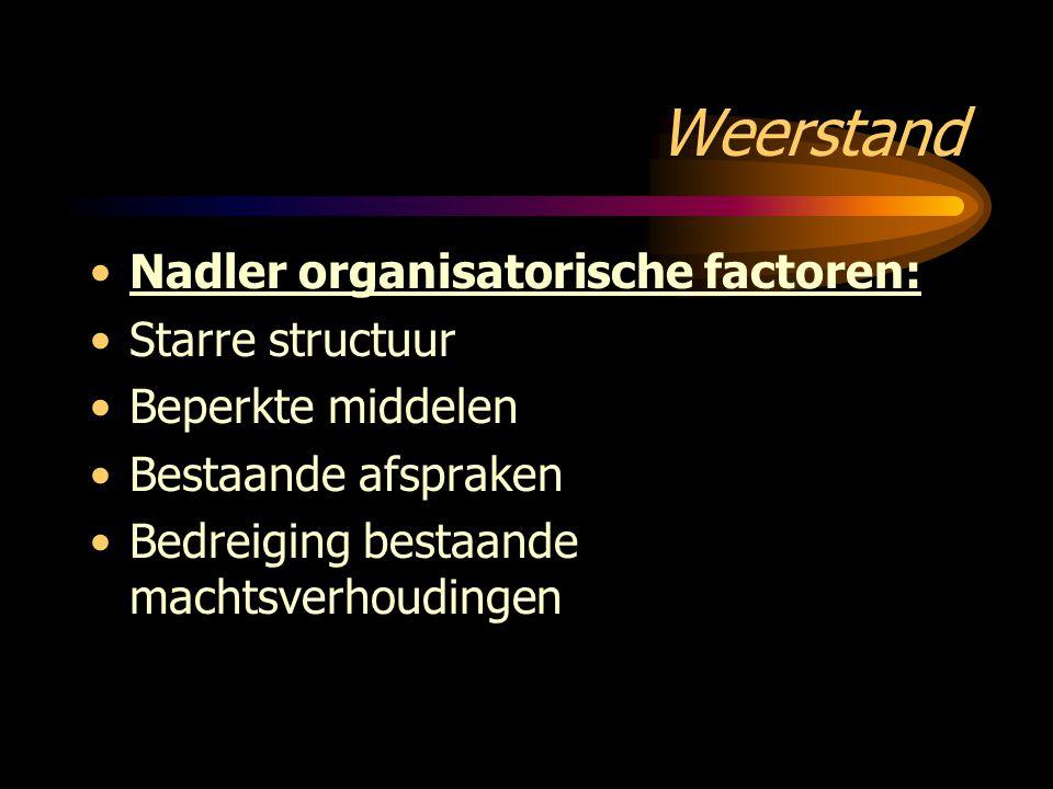 Weerstand Nadler organisatorische factoren: Starre structuur Beperkte middelen Bestaande afspraken Bedreiging bestaande machtsverhoudingen