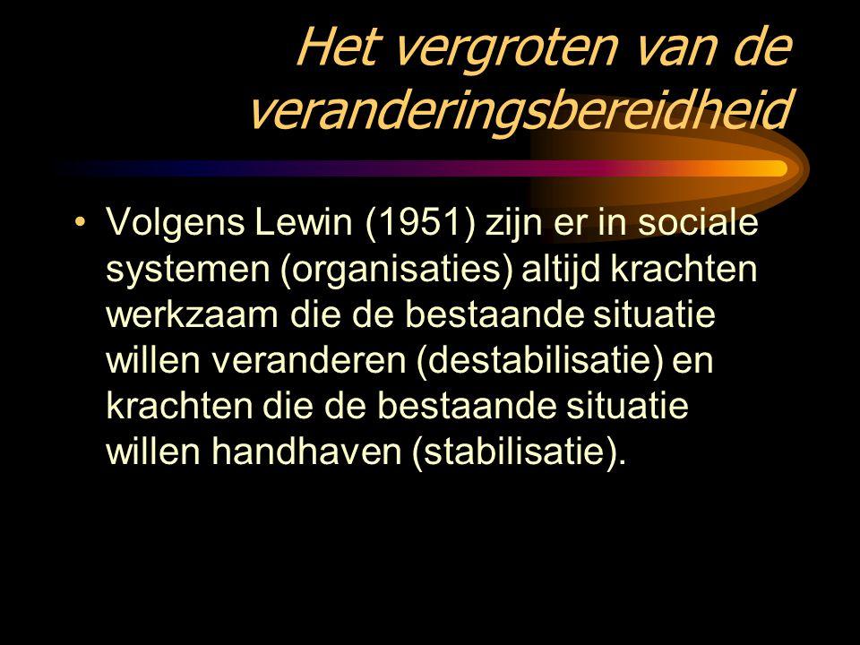 Het vergroten van de veranderingsbereidheid Volgens Lewin (1951) zijn er in sociale systemen (organisaties) altijd krachten werkzaam die de bestaande