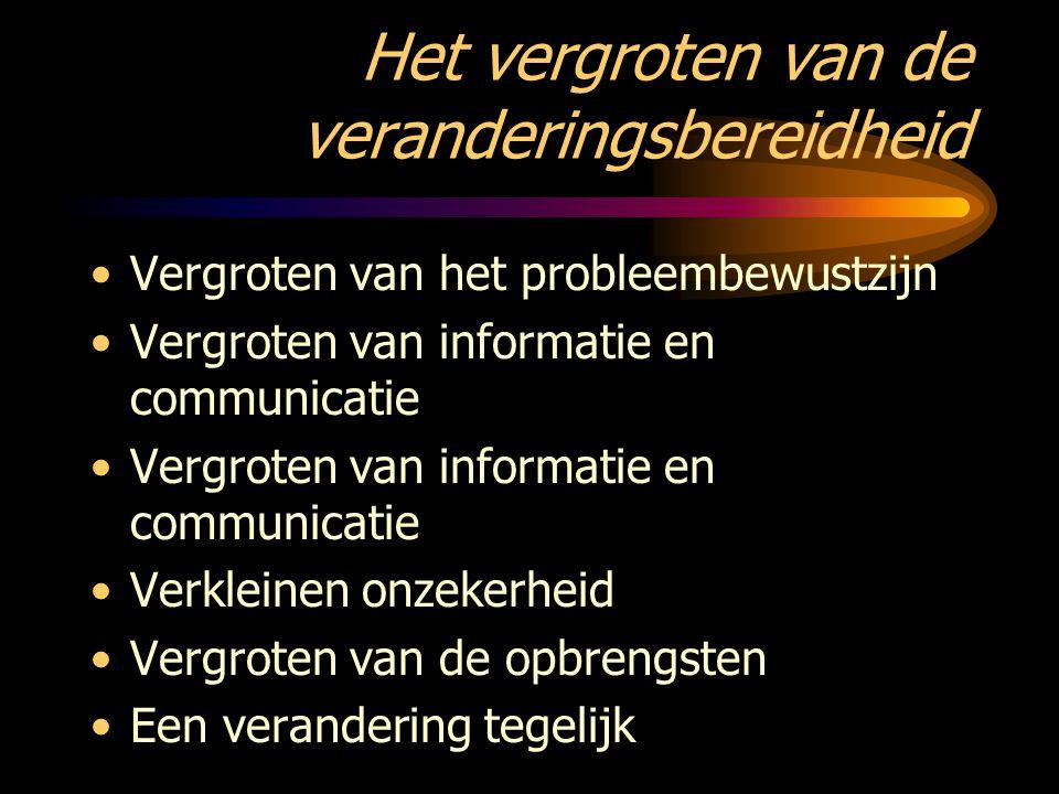 Het vergroten van de veranderingsbereidheid Vergroten van het probleembewustzijn Vergroten van informatie en communicatie Verkleinen onzekerheid Vergr