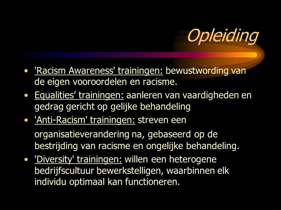 Opleiding 'Racism Awareness' trainingen: bewustwording van de eigen vooroordelen en racisme. Equalities' trainingen: aanleren van vaardigheden en gedr