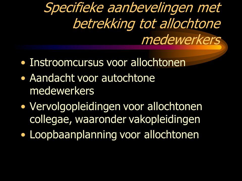 Specifieke aanbevelingen met betrekking tot allochtone medewerkers Instroomcursus voor allochtonen Aandacht voor autochtone medewerkers Vervolgopleidi