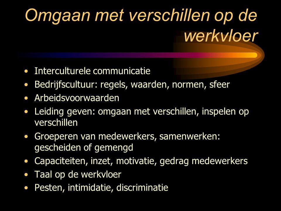 Omgaan met verschillen op de werkvloer Interculturele communicatie Bedrijfscultuur: regels, waarden, normen, sfeer Arbeidsvoorwaarden Leiding geven: o