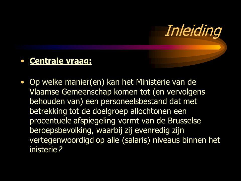 Inleiding Centrale vraag: Op welke manier(en) kan het Ministerie van de Vlaamse Gemeenschap komen tot (en vervolgens behouden van) een personeelsbesta
