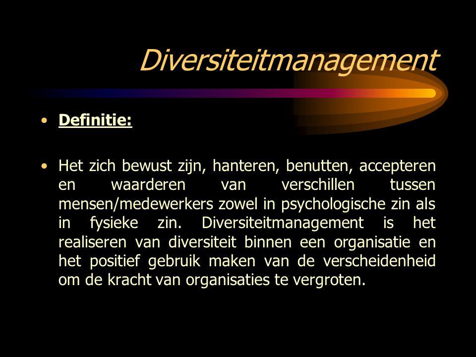 Diversiteitmanagement Definitie: Het zich bewust zijn, hanteren, benutten, accepteren en waarderen van verschillen tussen mensen/medewerkers zowel in