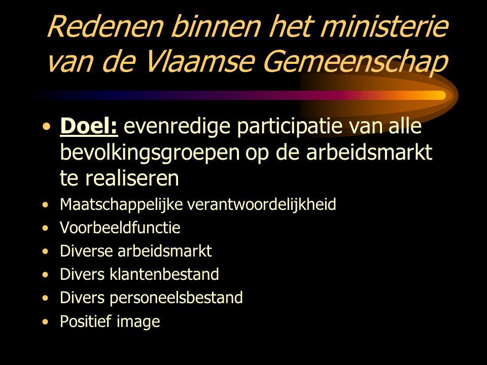 Redenen binnen het ministerie van de Vlaamse Gemeenschap Doel: evenredige participatie van alle bevolkingsgroepen op de arbeidsmarkt te realiseren Maa