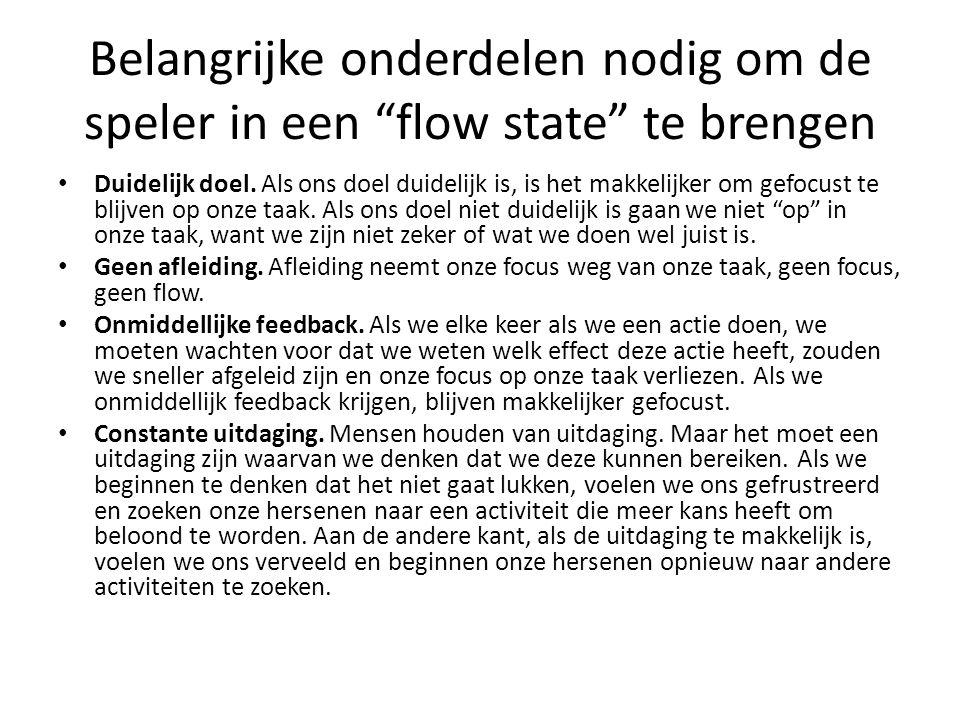 """Belangrijke onderdelen nodig om de speler in een """"flow state"""" te brengen Duidelijk doel. Als ons doel duidelijk is, is het makkelijker om gefocust te"""