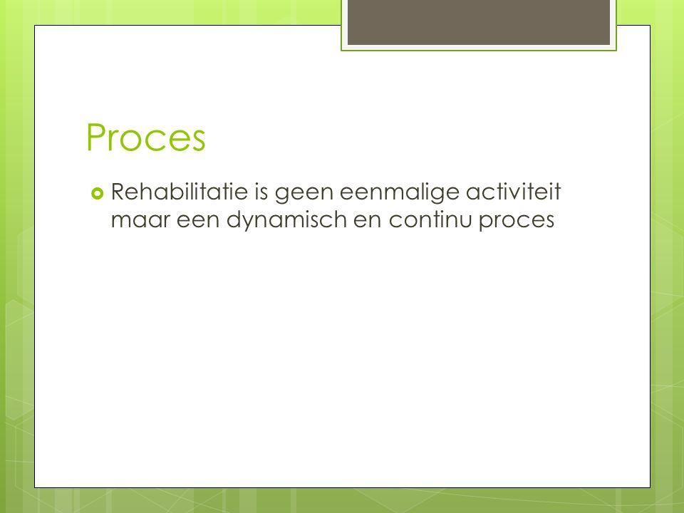 Proces  Rehabilitatie is geen eenmalige activiteit maar een dynamisch en continu proces
