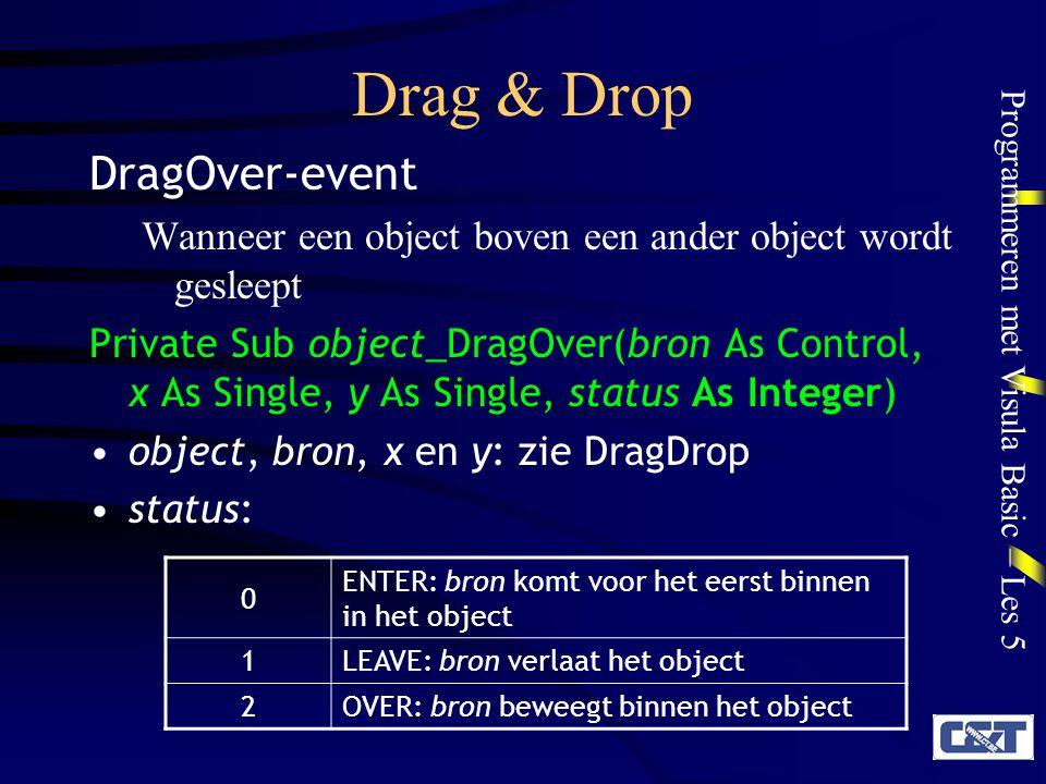 Programmeren met Visula Basic – Les 5 Drag & Drop Regels voor manual Drag & Drop –Objecten die kunnen worden gesleept: DragMode-eigenschap = Manual Eventueel: DragIcon laden Bepalen wanneer de Drag begint (bijv.