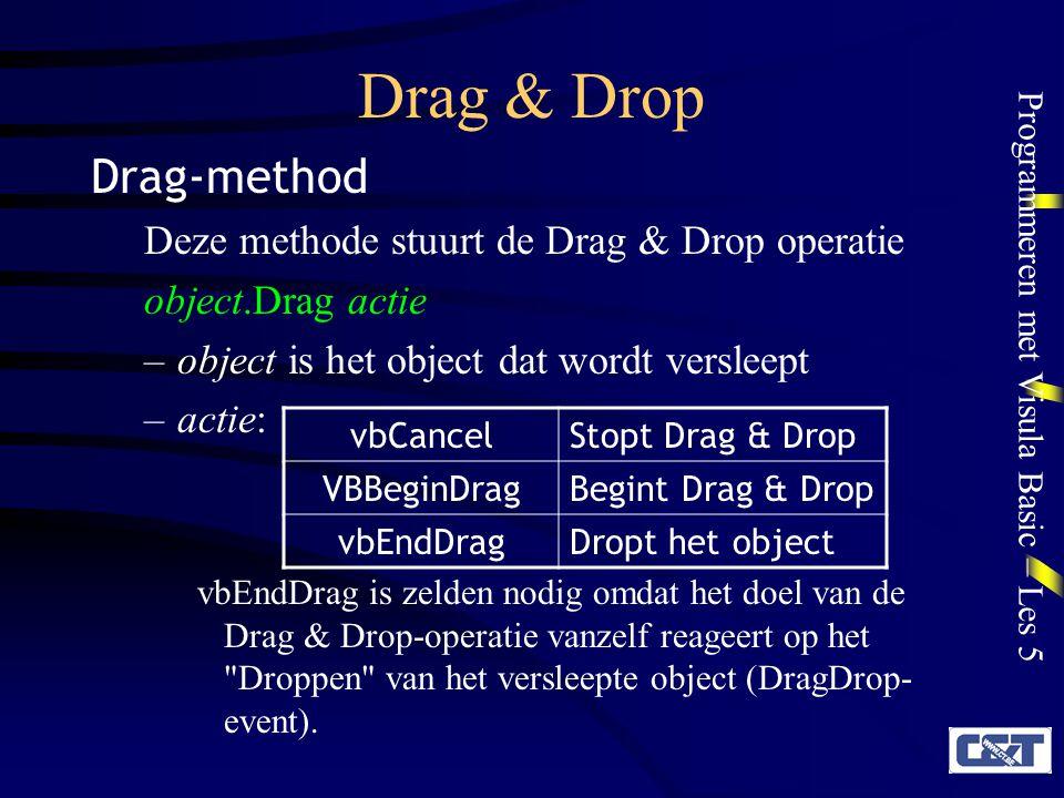 Programmeren met Visula Basic – Les 5 Drag & Drop Drag-method Deze methode stuurt de Drag & Drop operatie object.Drag actie –object is het object dat