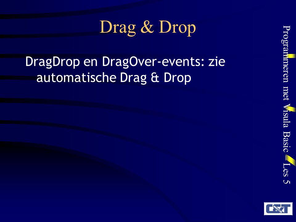 Programmeren met Visula Basic – Les 5 OLE Drag & Drop OLE = Object Linking and Embedding OLE Drag & Drop is de standaard Windows manier om data tussen verschillende objecten, formulieren en applicaties uit te wisselen.