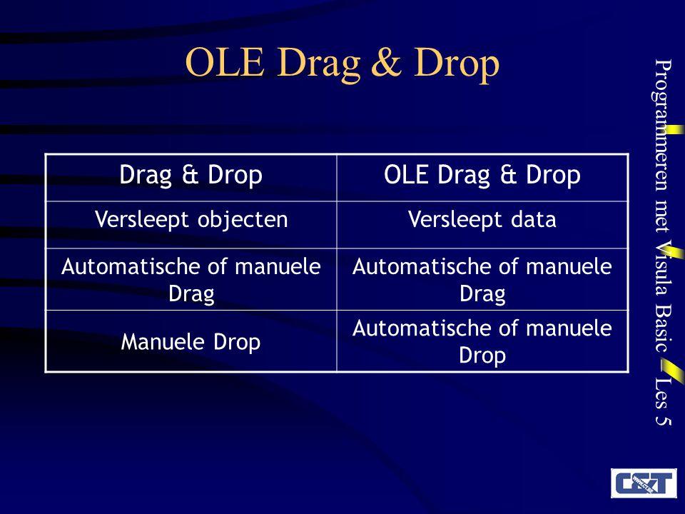 Programmeren met Visula Basic – Les 5 OLE Drag & Drop OLEDrag & Drop-eigenschappen OLEDragMode –Manual of Automatic –Indien deze eigenschap niet bestaat voor het object, is er hoogstens een Manual OLE Drag & Drop mogelijk (indien het object de OLEDrag-methode kent)