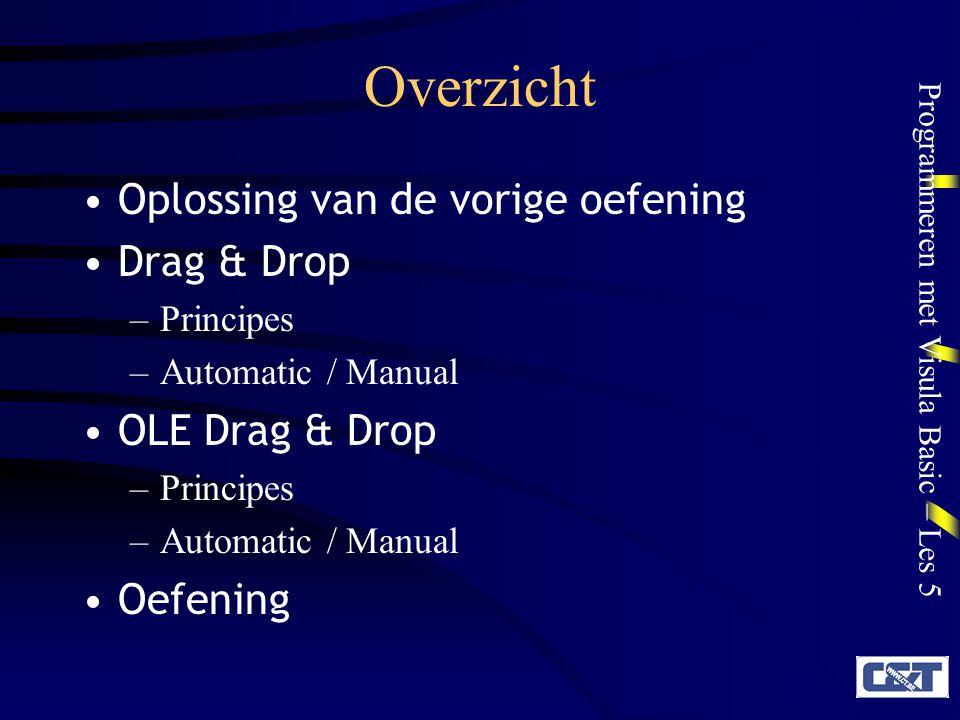 Programmeren met Visula Basic – Les 5 Overzicht Oplossing van de vorige oefening Drag & Drop –Principes –Automatic / Manual OLE Drag & Drop –Principes