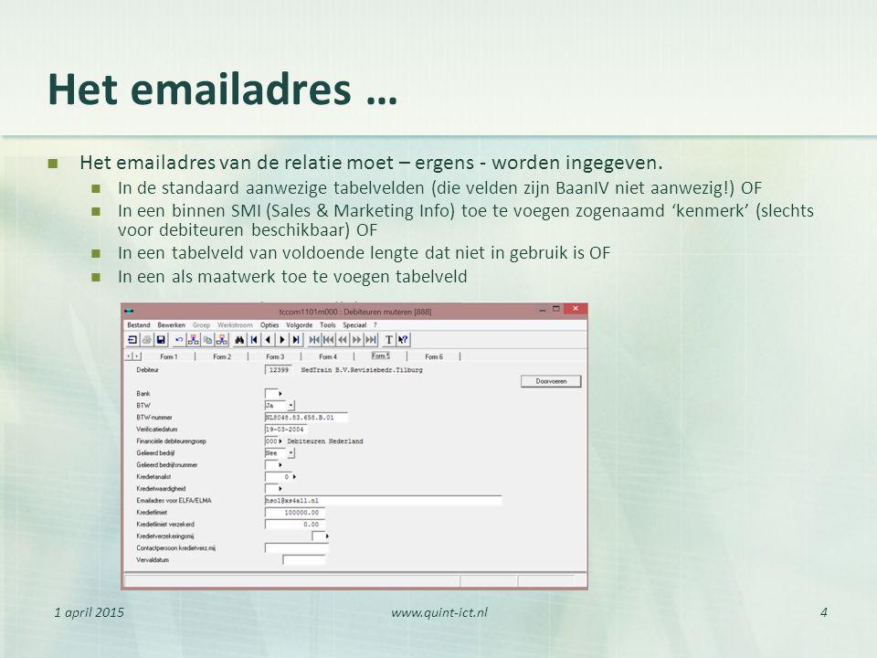 1 april 2015www.quint-ict.nl4 Het emailadres … Het emailadres van de relatie moet – ergens - worden ingegeven. In de standaard aanwezige tabelvelden (
