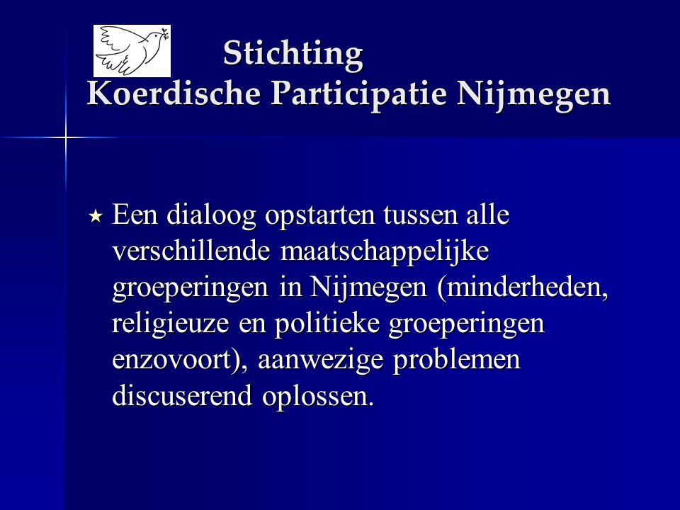  Een dialoog opstarten tussen alle verschillende maatschappelijke groeperingen in Nijmegen (minderheden, religieuze en politieke groeperingen enzovoort), aanwezige problemen discuserend oplossen.