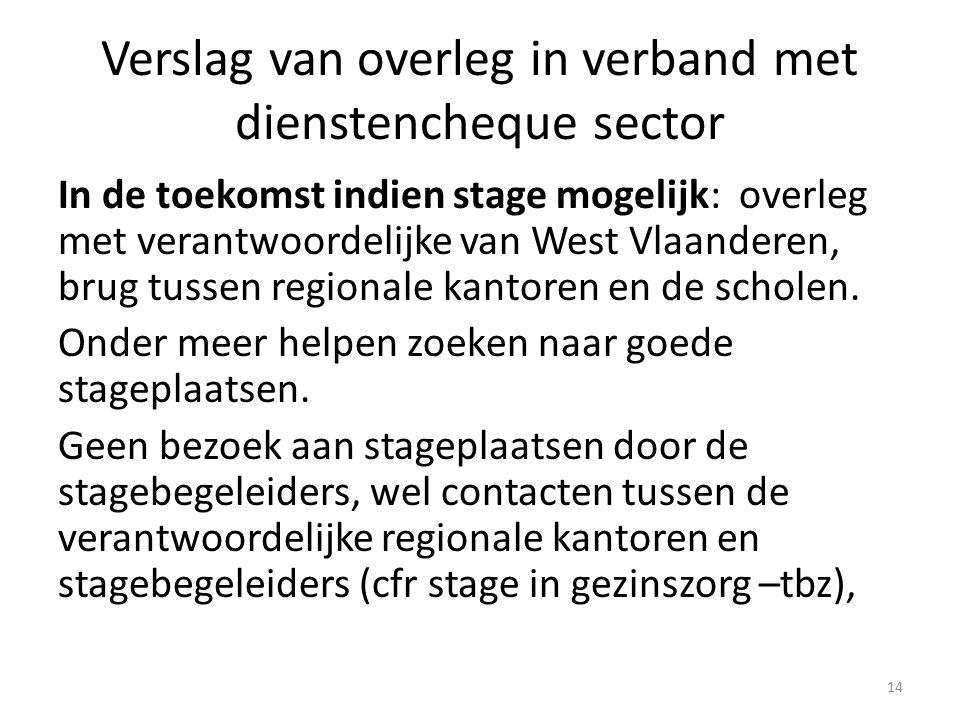 Verslag van overleg in verband met dienstencheque sector In de toekomst indien stage mogelijk: overleg met verantwoordelijke van West Vlaanderen, brug tussen regionale kantoren en de scholen.