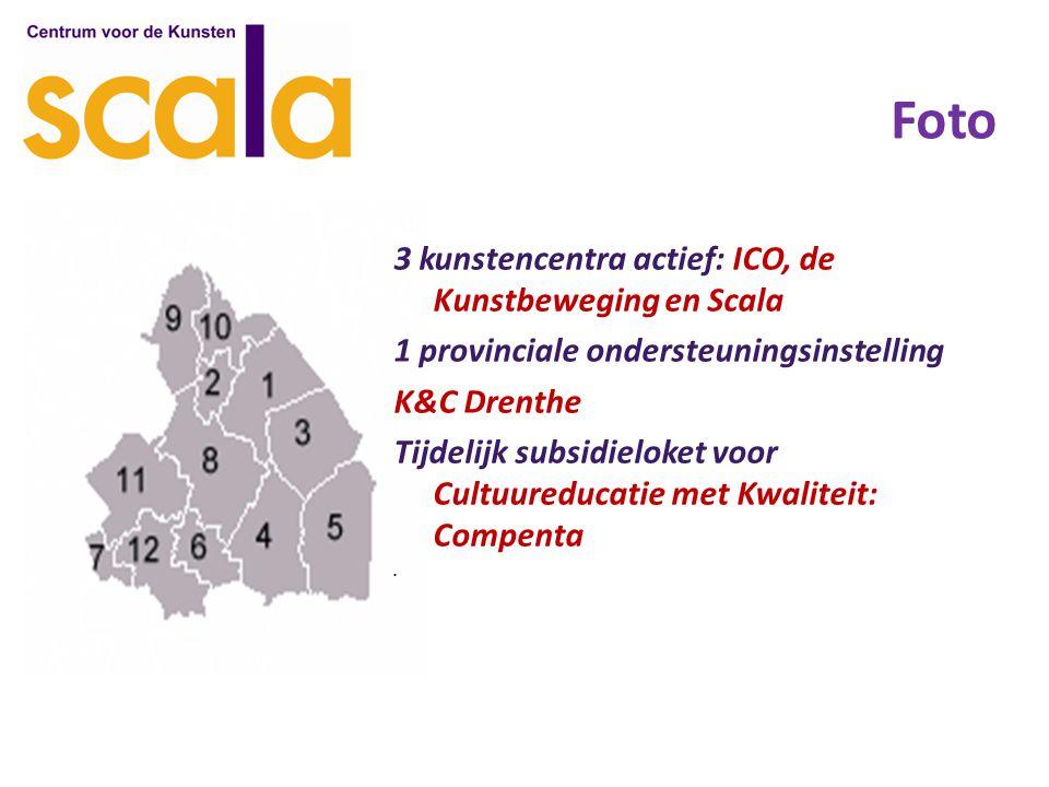 Foto 3 kunstencentra actief: ICO, de Kunstbeweging en Scala 1 provinciale ondersteuningsinstelling K&C Drenthe Tijdelijk subsidieloket voor Cultuureducatie met Kwaliteit: Compenta.