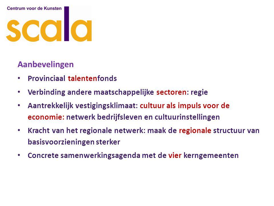Aanbevelingen Provinciaal talentenfonds Verbinding andere maatschappelijke sectoren: regie Aantrekkelijk vestigingsklimaat: cultuur als impuls voor de economie: netwerk bedrijfsleven en cultuurinstellingen Kracht van het regionale netwerk: maak de regionale structuur van basisvoorzieningen sterker Concrete samenwerkingsagenda met de vier kerngemeenten