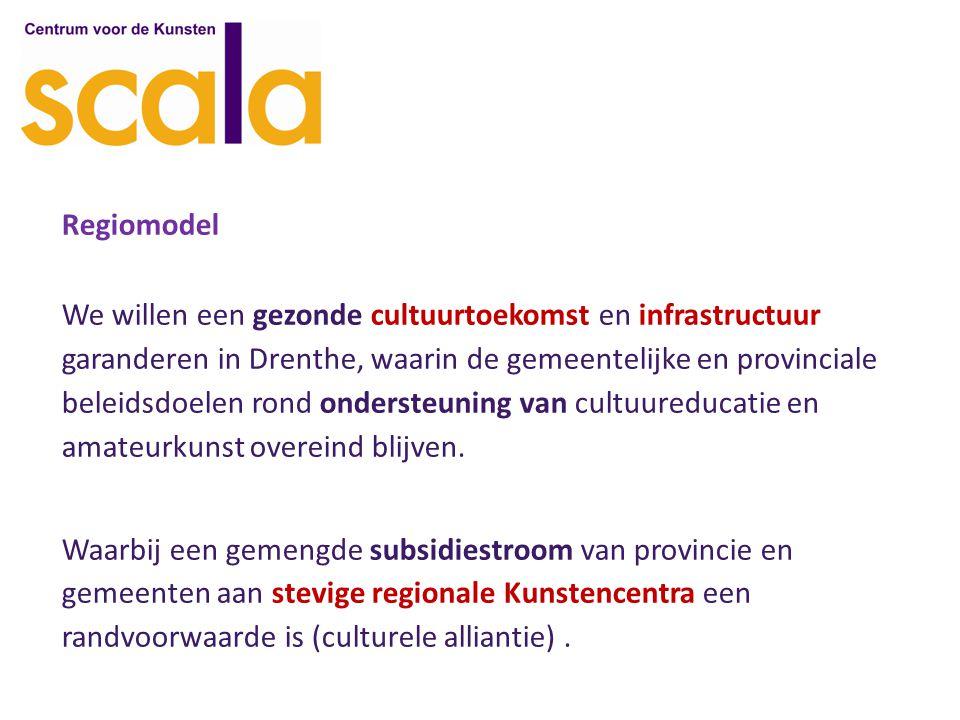 Regiomodel We willen een gezonde cultuurtoekomst en infrastructuur garanderen in Drenthe, waarin de gemeentelijke en provinciale beleidsdoelen rond ondersteuning van cultuureducatie en amateurkunst overeind blijven.