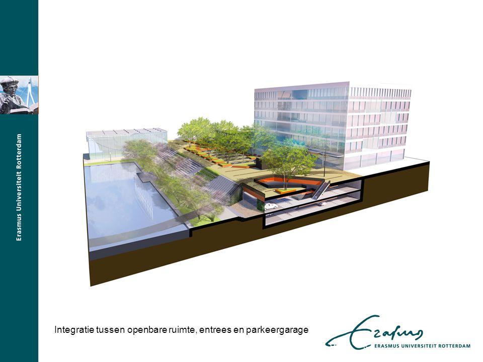 Integratie tussen openbare ruimte, entrees en parkeergarage