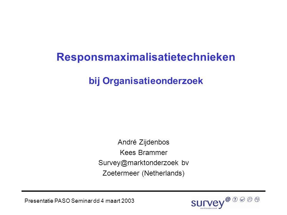 Presentatie PASO Seminar dd 4 maart 2003 Responsmaximalisatietechnieken bij Organisatieonderzoek André Zijdenbos Kees Brammer Survey@marktonderzoek bv Zoetermeer (Netherlands)
