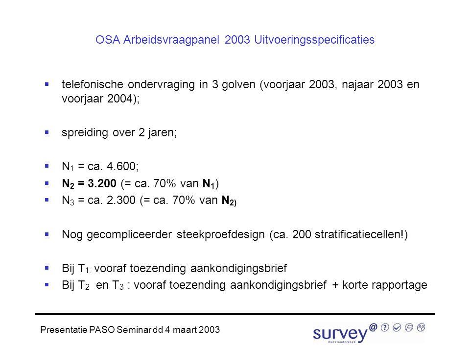 Presentatie PASO Seminar dd 4 maart 2003 OSA Arbeidsvraagpanel 2003 Uitvoeringsspecificaties  telefonische ondervraging in 3 golven (voorjaar 2003, najaar 2003 en voorjaar 2004);  spreiding over 2 jaren;  N 1 = ca.