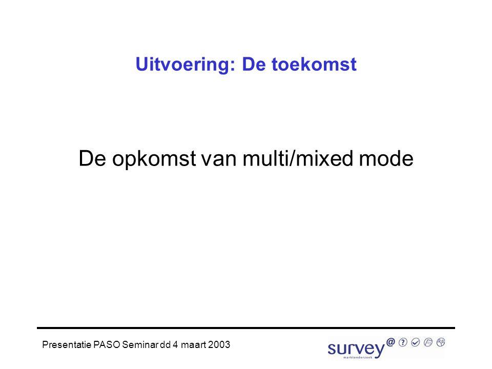 Presentatie PASO Seminar dd 4 maart 2003 Uitvoering: De toekomst De opkomst van multi/mixed mode
