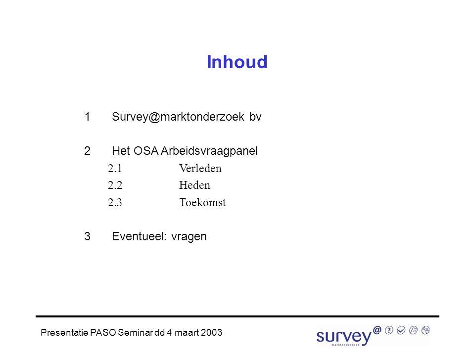 Presentatie PASO Seminar dd 4 maart 2003 Inhoud 1Survey@marktonderzoek bv 2Het OSA Arbeidsvraagpanel 2.1Verleden 2.2Heden 2.3Toekomst 3Eventueel: vragen
