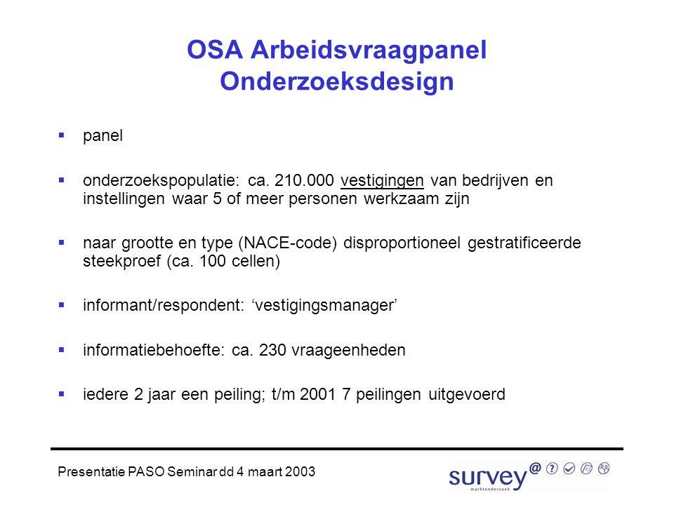 Presentatie PASO Seminar dd 4 maart 2003 OSA Arbeidsvraagpanel Onderzoeksdesign  panel  onderzoekspopulatie: ca.