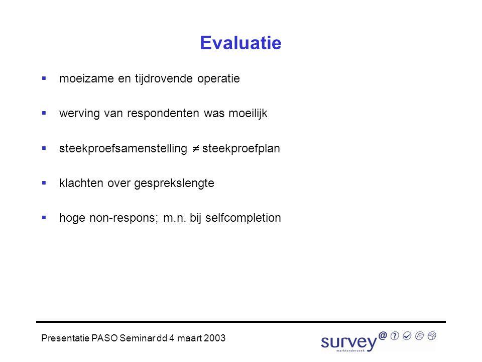 Presentatie PASO Seminar dd 4 maart 2003 Evaluatie  moeizame en tijdrovende operatie  werving van respondenten was moeilijk  steekproefsamenstelling  steekproefplan  klachten over gesprekslengte  hoge non-respons; m.n.