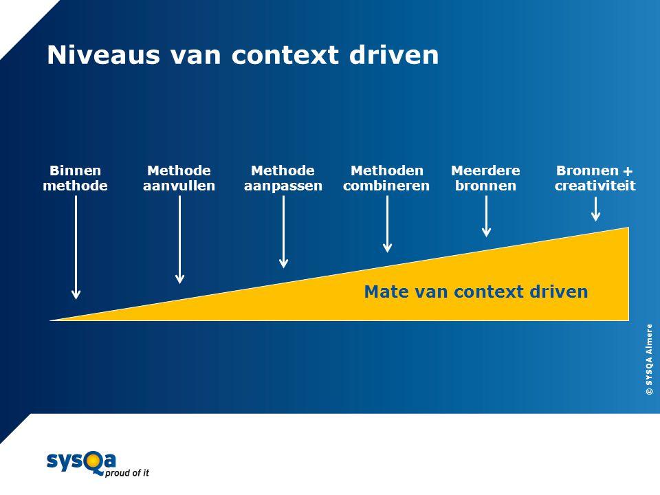 © SYSQA Almere Niveaus van context driven 7 Binnen methode Methode aanvullen Methode aanpassen Methoden combineren Meerdere bronnen Bronnen + creativi