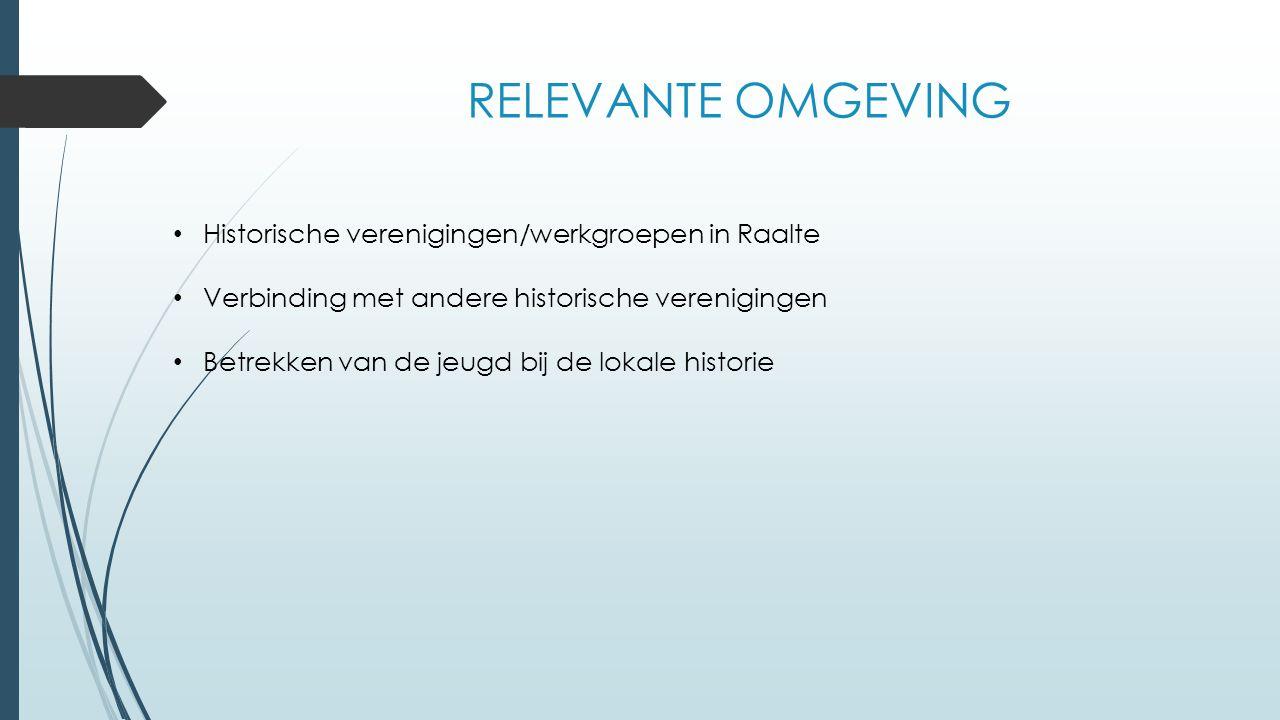 RELEVANTE OMGEVING Historische verenigingen/werkgroepen in Raalte Verbinding met andere historische verenigingen Betrekken van de jeugd bij de lokale historie
