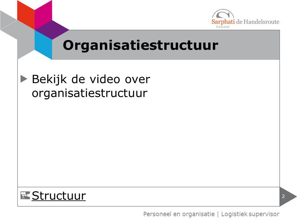 Bekijk de video over organisatiestructuur 2 Personeel en organisatie   Logistiek supervisor Organisatiestructuur Structuur