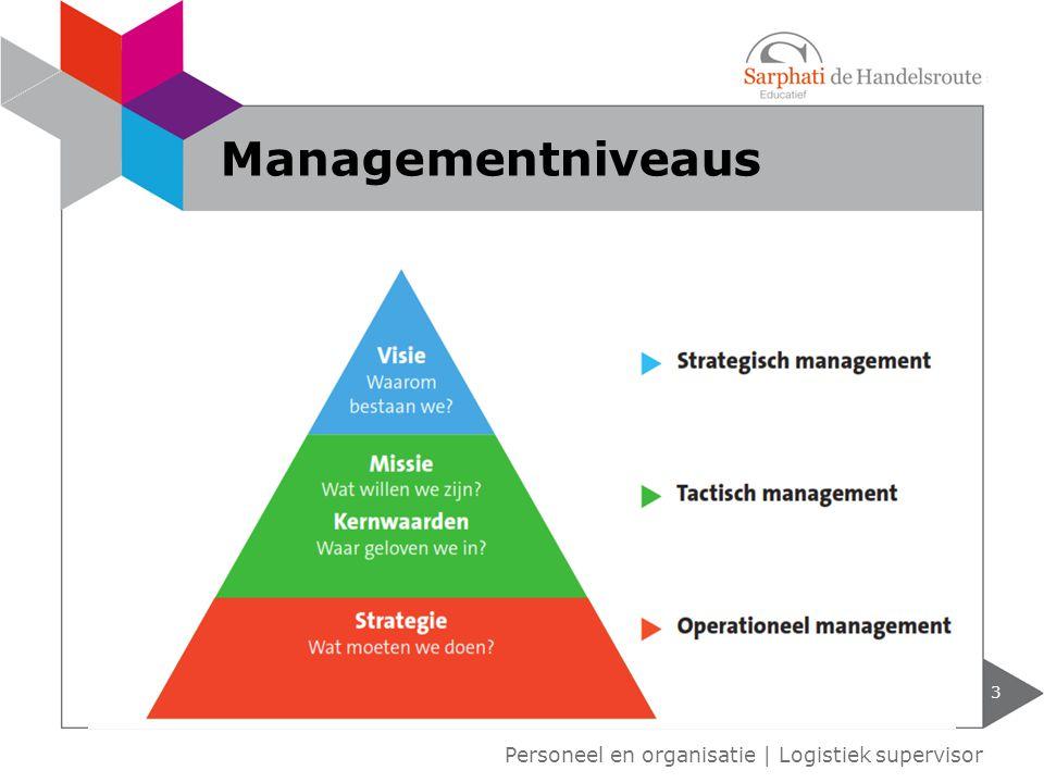 3 Personeel en organisatie   Logistiek supervisor Managementniveaus