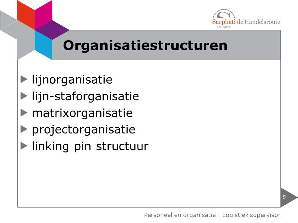 lijnorganisatie lijn-staforganisatie matrixorganisatie projectorganisatie linking pin structuur 5 Personeel en organisatie   Logistiek supervisor Orga