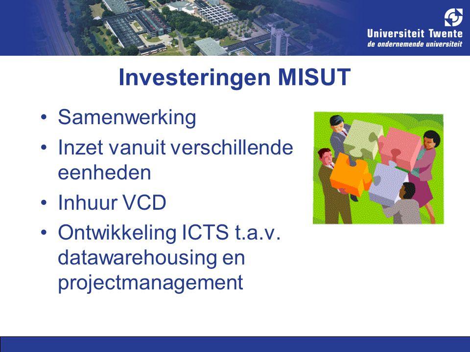 Investeringen MISUT Samenwerking Inzet vanuit verschillende eenheden Inhuur VCD Ontwikkeling ICTS t.a.v.