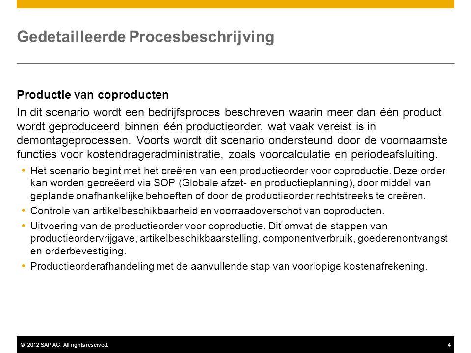 ©2012 SAP AG. All rights reserved.4 Gedetailleerde Procesbeschrijving Productie van coproducten In dit scenario wordt een bedrijfsproces beschreven wa
