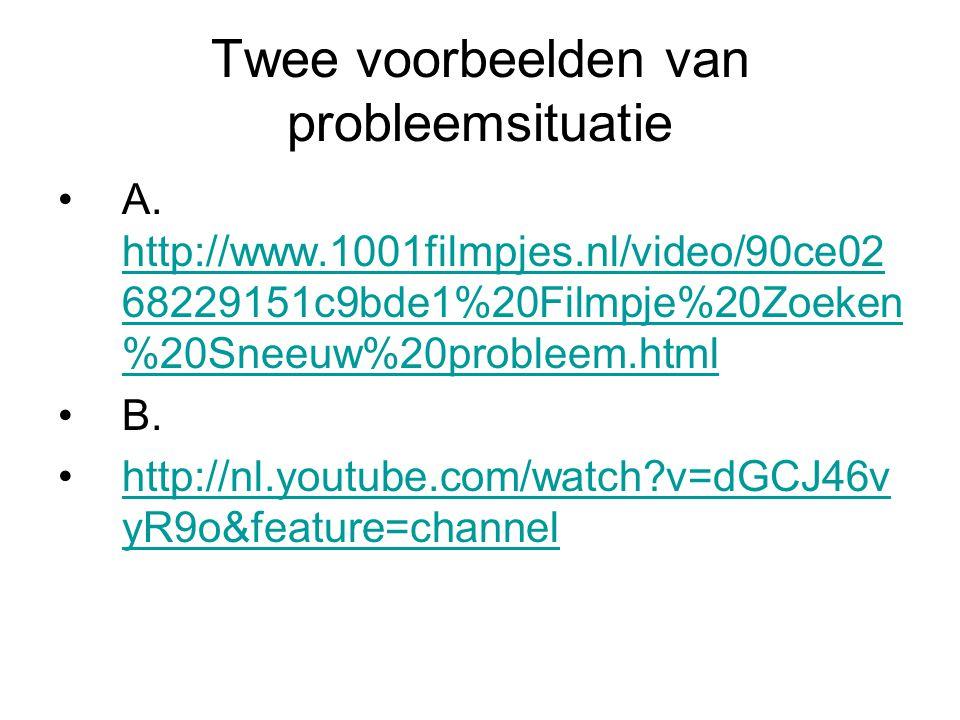 Twee voorbeelden van probleemsituatie A. http://www.1001filmpjes.nl/video/90ce02 68229151c9bde1%20Filmpje%20Zoeken %20Sneeuw%20probleem.html http://ww