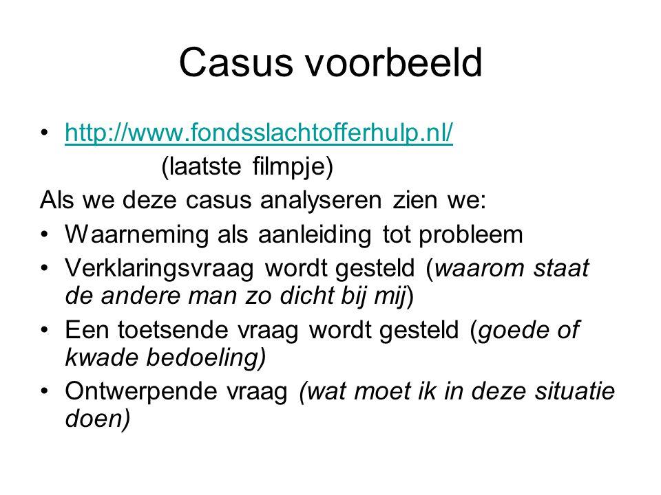 Casus voorbeeld http://www.fondsslachtofferhulp.nl/ (laatste filmpje) Als we deze casus analyseren zien we: Waarneming als aanleiding tot probleem Ver