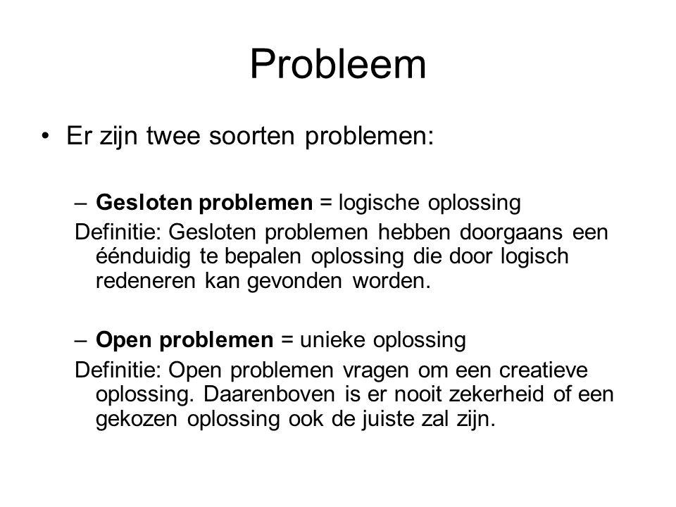 Probleem Er zijn twee soorten problemen: –Gesloten problemen = logische oplossing Definitie: Gesloten problemen hebben doorgaans een éénduidig te bepa