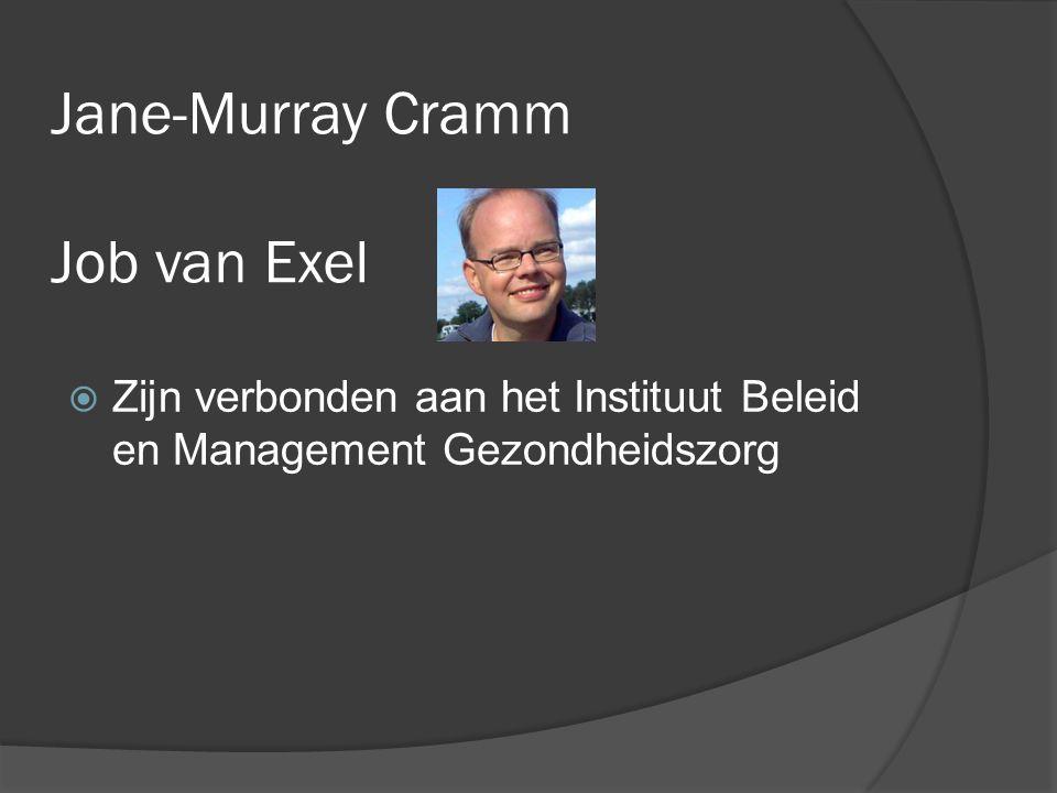 Jane-Murray Cramm Job van Exel  Zijn verbonden aan het Instituut Beleid en Management Gezondheidszorg
