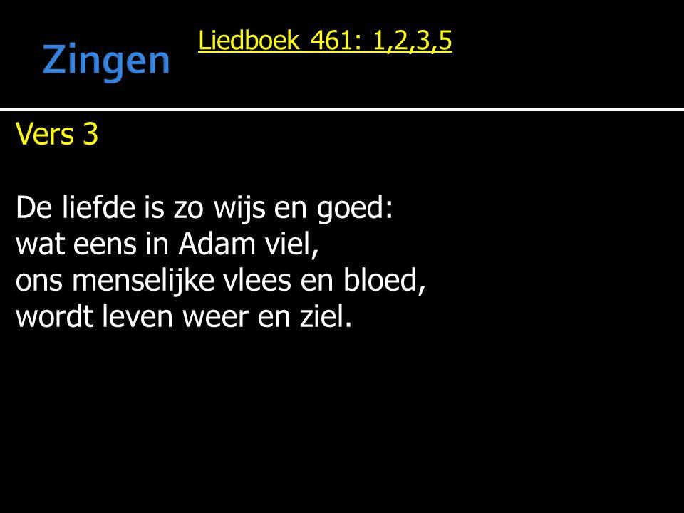 Liedboek 461: 1,2,3,5 Vers 3 De liefde is zo wijs en goed: wat eens in Adam viel, ons menselijke vlees en bloed, wordt leven weer en ziel.