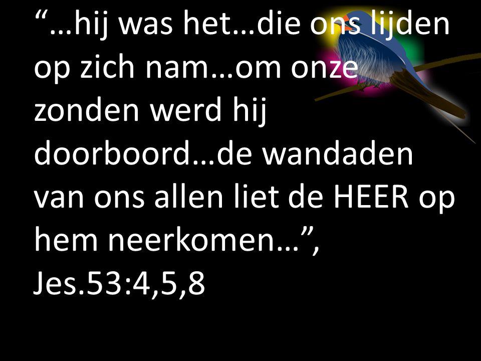 """""""…hij was het…die ons lijden op zich nam…om onze zonden werd hij doorboord…de wandaden van ons allen liet de HEER op hem neerkomen…"""", Jes.53:4,5,8"""
