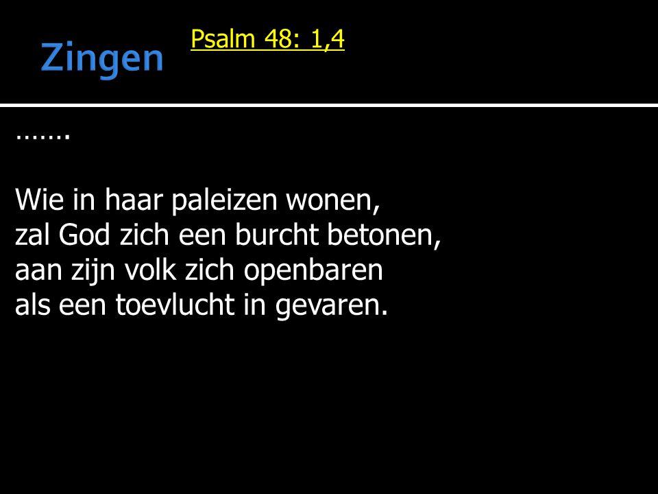 Psalm 48: 1,4 ……. Wie in haar paleizen wonen, zal God zich een burcht betonen, aan zijn volk zich openbaren als een toevlucht in gevaren.