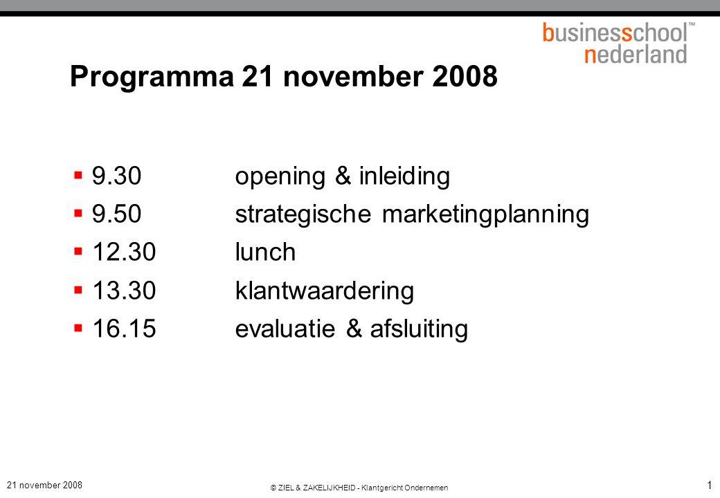 21 november 2008 © ZIEL & ZAKELIJKHEID - Klantgericht Ondernemen 1 Programma 21 november 2008  9.30opening & inleiding  9.50strategische marketingplanning  12.30lunch  13.30klantwaardering  16.15evaluatie & afsluiting