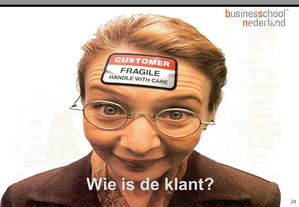 21 november 2008 © ZIEL & ZAKELIJKHEID - Klantgericht Ondernemen 24 Wie is de klant?