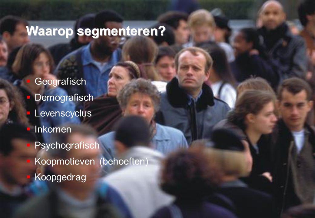 21 november 2008 © ZIEL & ZAKELIJKHEID - Klantgericht Ondernemen 27 Waarop segmenteren.